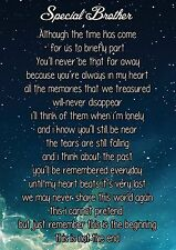 Special Brother Graveside Poem Memorial Keepsake Card with Free Ground Stake F6