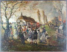 """Ancien Tableau """"L'incendie"""" Peinture Huile Antique Oil Painting Malerei Dipinto"""