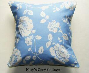 "16"" Designer Rosebud blue fabric cushion cover"