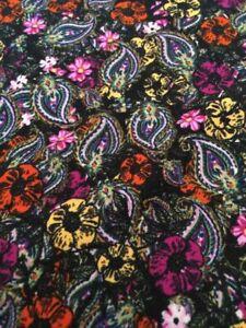 NWOT LuLaRoe TC Leggings Tablecloth Vintage Paisley Floral Black Rainbow Flowers