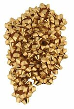 100pc Metallic Star Bows for Gift Wrapping - GOLD Special Occasion Bow Christmas