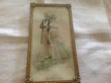 """Antique picture frame easel type brass silk back art litho 6.5"""" H"""