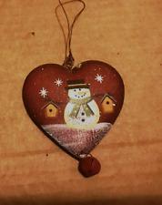 Metal heart bell snowman birdhouse Christmas winter snowmen ornament decor sign