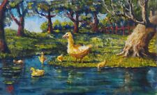 Vintage French Oil Painting, Duck and Ducklings, Pond, Landscape, Signed Vial