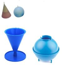 "Set x 2, 3"" Diameter Sphere Round & Cone Shaped Candle Moulds Molds. S7688"