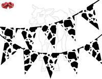 Cow Print Farm Animal Black White Bunting Banner 15 flags Printed by Party Decor