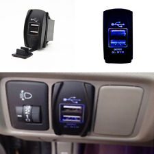 Car 12-24V 3.1A Dual USB Power Charger Port Socket ARB Rocker Switch Blue LED