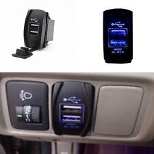 Dual USB Car Power Charger Port Socket ARB Jack Blue LED Light 12V 24V
