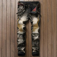 Men's Long Wrinkle Straight Leg Slim Fit Jeans Embroidery Denim Pants Trousers