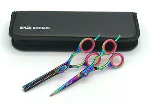 "Professional Hairdressing Scissors Barber Thinning Shears Titanium KIT J2 5.5"""