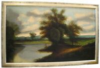 vintage oil painting of river landscape
