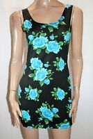 Miss Cherry Brand Black Floral Bodycon Tank Dress Size S BNWT #SI117
