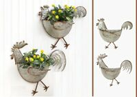 Galvanized Metal ROOSTER or HEN Wall Planter Rustic Country Farmhouse Indoor Out