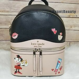 NWT Kate Spade New York Minnie Mouse Medium Leather Backpack KSNY Red Black New