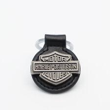 porte clés, rond cuir noir, bouton vintage harley davidson