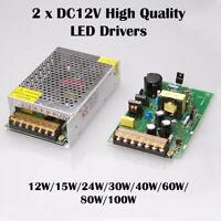 2 x LED Driver Power Supply Transformer AC 240V - DC 12V For LED Strip GU10 MR16
