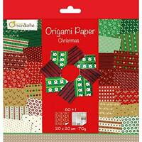 Avenue Mandarine Christmas Origami Sheet Pack (20x20cm) with sticker sheet