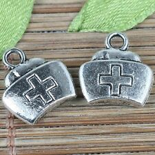 84pcs tibetan silver color nurse cap design charms EF0256