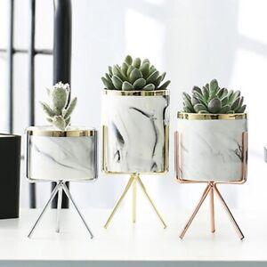 Nordic Ceramic Iron Art Vase Marble Pattern Rose Gold Silver Tabletop Green Plan