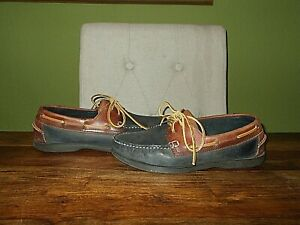 Mens Brown & Blue Leather JONES BAHA Deck / Boat Shoes Size UK 7, EU 41