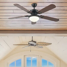 """5 Blade 52"""" Black Ceiling Fan with Light Kit Remote Reversible Motor and Blades"""