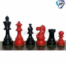 """3.8"""" Classic Staunton Chess pieces Set Boxwood Painted Red & Black Weighted 4Q"""
