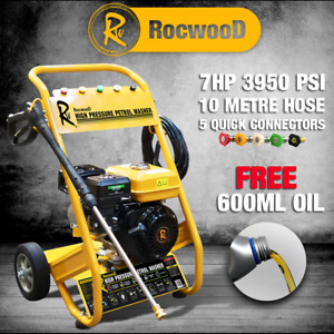 RocwooD Petrol Pressure Washer 3950 PSI 7HP 10 Litre High Power Jet FREE Oil