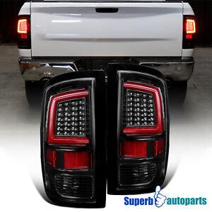 For 2009-2018 Dodge Ram 1500 10-18 Ram 2500 3500 Shiny Black LED DRL Tail Lights