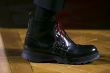 Dior Homme Boots Black Size 44 FW2016 Thick Soles Red Laces Buckle Military 11US