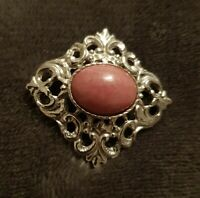 VINTAGE Signed Hollywood Silvertone pink centre stone  BROOCH Pin