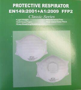 P2 Face Masks with Valve   EN149:2001+A1:2009   Aus Std Compliant   Box of 12