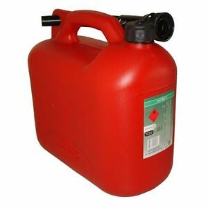 Fuel Can 10L Litre Red Canister Plastic Lawn Mower Jerry Flexible Spout
