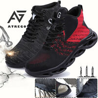 AtreGo Mens Safety Shoes Steel Toe High Top Work Boots Hiking Running Trainers