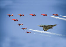 More details for avro vulcan & the raf red arrows canvas prints various sizes free delivery