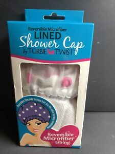 NEW! Turbie Twist Reversible Microfiber Lined Shower Cap White/Pink polk dots