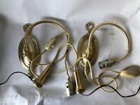 Vtg Colonial Premier Wall lamp swing sconce pair brass adjustable cord height