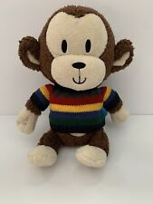 The Childrens Place Brown Monkey Plush Knit Striped Sweater Stuffed Animal Toy