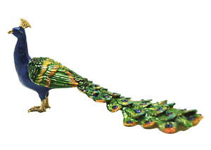 Peacock Long Tail Jewelled Bird Trinket Box - Enamelled