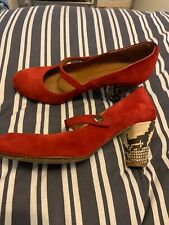 Topshop Red Suade Shoes Ladies Red Size 6