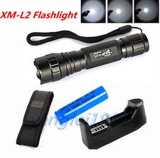 UltraFire WF-501B 2500Lm XM-L L2 LED Flashlight Torch+18650 Blue Battery+Charger