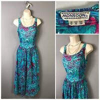 Vintage Monsoon Blue Aqua Floral Pleated Retro Dress UK 12 EUR 38 US 8