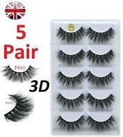 NEW 5 Pair 3D Mink False Eyelashes Fake Wispy Long Thick Cross Eye Lashes Soft.
