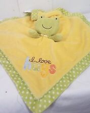 Carters Frog Lovey green yellow plush security blanket I love hugs
