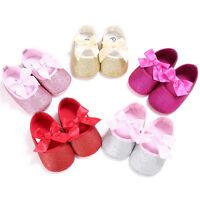 Toddler Girl Sequins Crib Shoes Newborn Baby Bowknot Anti-slip Soft Prewalker UK