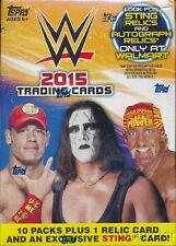 2015 Topps WWE EXCLUSIVE Factory Sealed Blaster Box-RELIC+Special STING Card!