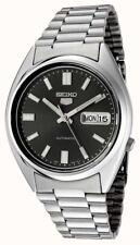 Seiko 5 Mens Blac Dial Skeleton Back Automatic Watch Day/Date 3 Language SNXS79K