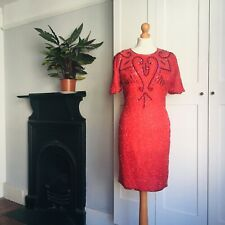 Vintage 90s Red Pure Silk Pink Black Heavily Beaded Sequinned Fitted Dress 10