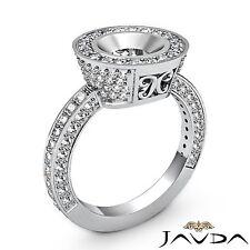 Round Diamond Engagement Semi Mount 1.5Ct Halo Bezel Filigree Ring Platinum 950