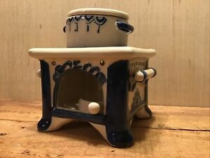 Stove Porcelain Oil Warmer, 4-Piece: Tealight Candle Pan, Oil Pot w/lid, & Stove
