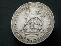 1913 Solid Sterling Silver Vintage Kings Shilling George V United Kingdom C050